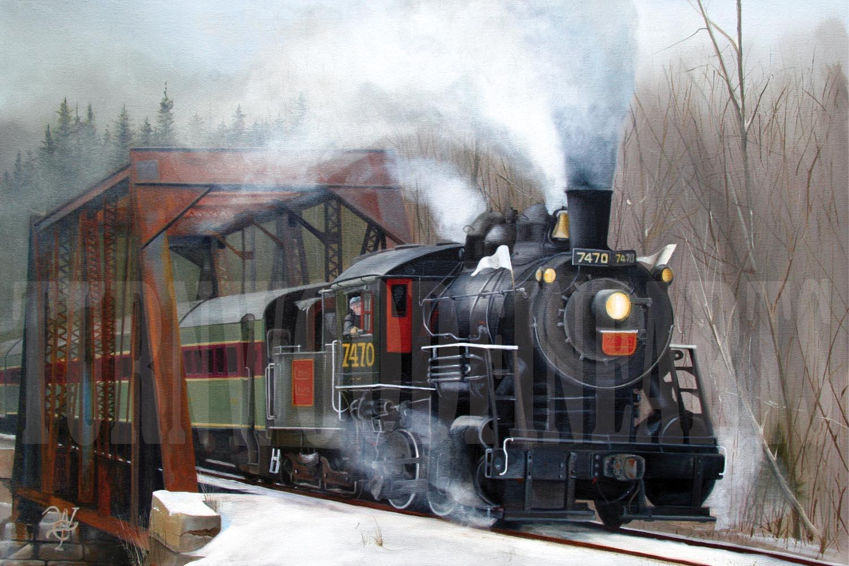 7470 Under Steam - Oil on Canvas by William C. Turner
